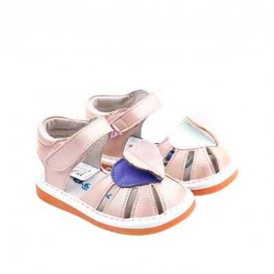 Chaussures semelle souple Sandales coeurs pailletés