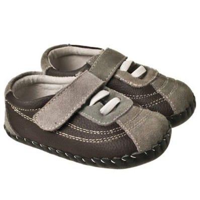 Little Blue Lamb - Chaussures premiers pas cuir souple | Baskets marron et grises
