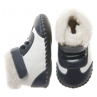 Little Blue Lamb - Chaussures premiers pas cuir souple | Bottines noires et blanches