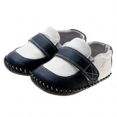 Little Blue Lamb - Baby boys first steps soft leather shoes | Black and white moccasins