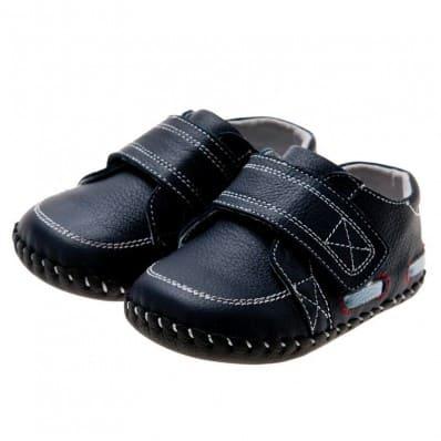 Little Blue Lamb - Chaussures premiers pas cuir souple | Mocassins bleu marine