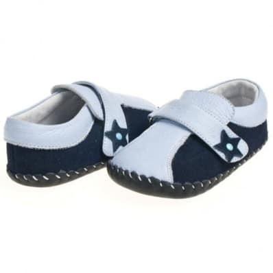 Little Blue Lamb - Zapatos de bebe primeros pasos de cuero niños | Mocasines azul bicolor