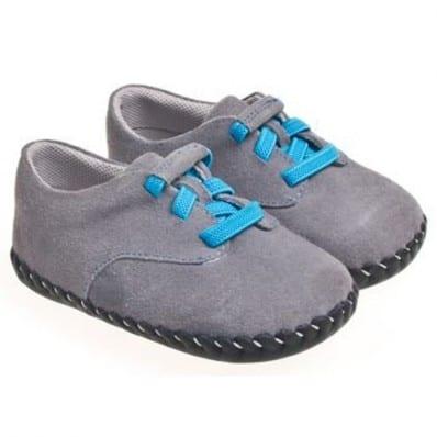 Little Blue Lamb - Chaussures premiers pas cuir souple | Gris lacet bleu