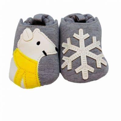 Chaussons en tissu OURS POLAIRE C2BB - chaussons, chaussures, chaussettes pour bébé