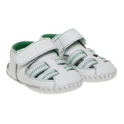 Little Blue Lamb - Baby boys first steps soft leather shoes | White green sandals