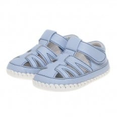 Little Blue Lamb - Baby boys first steps soft leather shoes | Blue sandals