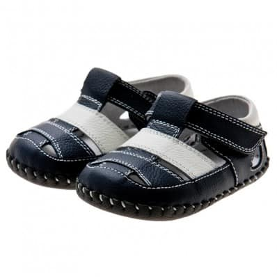 Little Blue Lamb - Baby boys first steps soft leather shoes | Navy and white sandals