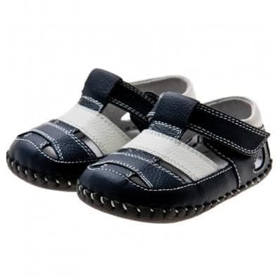 Little Blue Lamb - Zapatos de bebe primeros pasos de cuero niños | Sandalias azul marino blanca