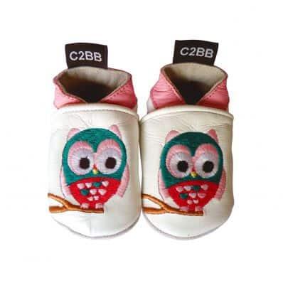Chaussons en cuir souple HIBOU Recontionné C2BB - chaussons, chaussures, chaussettes pour bébé