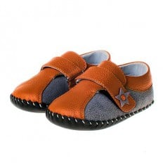 Little Blue Lamb - Baby boys first steps soft leather shoes | Sneakers orange star