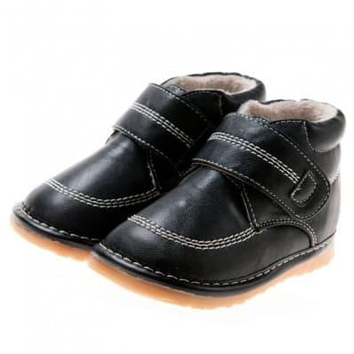 Little Blue Lamb - Zapatos de cuero chirriantes - squeaky shoes niños | Negras