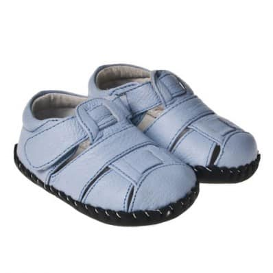 Little Blue Lamb - Baby boys first steps soft leather shoes | Light blue Sandals