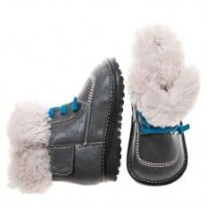 Little Blue Lamb - Chaussures bébé à sifflet garçon premiers pas | Bottines hiver fourrées grises lacets bleu
