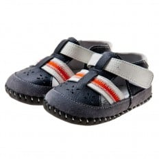 Little Blue Lamb - Baby boys first steps soft leather shoes   Navy red strip sandals