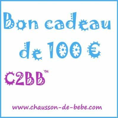 Bon cadeau de 100 euros C2BB - chaussons, chaussures, chaussettes pour bébé