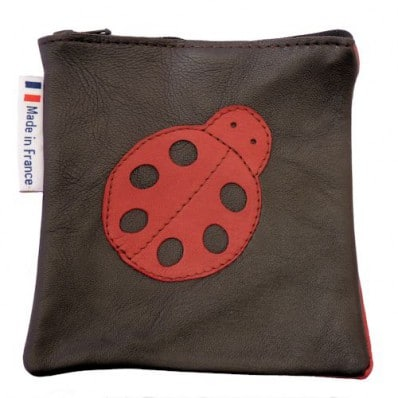 Square leather pocket | Black with ladybird