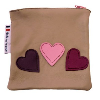 Square leather pocket | 3 hearts
