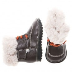 Little Blue Lamb - Squeaky Leather Toddler boys Shoes | Lined boots black orange laces