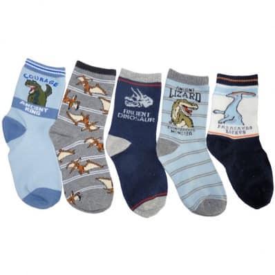 5 paires de chaussettes dinosaures enfant de 4 à 8 ans | Lot B
