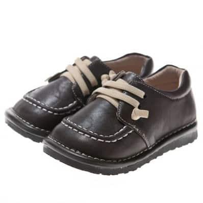 Little Blue Lamb - Chaussures à sifflet | Bateaux marron lacets beige