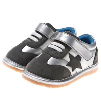 Little Blue Lamb - Squeaky Leather Toddler boys Shoes | Blue and silver star sneakers