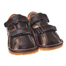 Little Blue Lamb - Squeaky Leather Toddler boys Shoes | Brown closed sandals