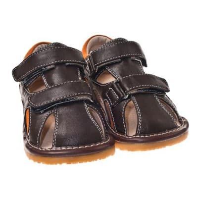 Little Blue Lamb - Zapatos de cuero chirriantes - squeaky shoes niños | Sandalias cerradas marrones