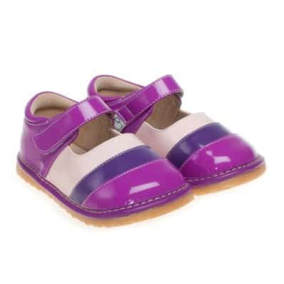 Little Blue Lamb - Squeaky Leather Toddler Girls Shoes | Purple zebra