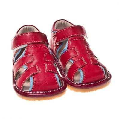 Little Blue Lamb - Squeaky Leather Toddler boys Shoes | Red sandals