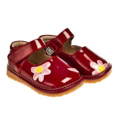 Little Blue Lamb - Squeaky Leather Toddler Girls Shoes | Pink flower red ceremony