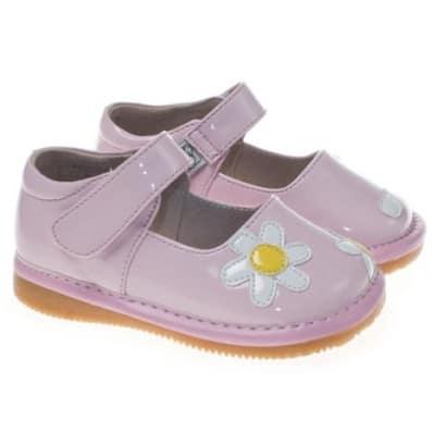 Little Blue Lamb - Zapatos de cuero chirriantes - squeaky shoes niñas   Rosa flor blanco ceremonia