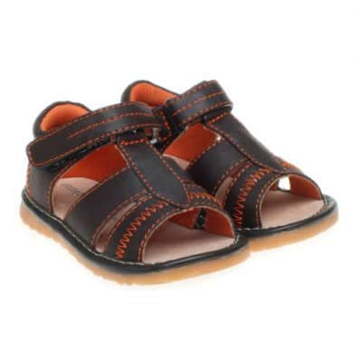 Little Blue Lamb - Squeaky Leather Toddler boys Shoes | Brown sandals