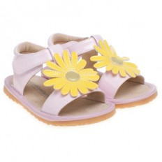 Little Blue Lamb - Squeaky Leather Toddler Girls Shoes |  Pink marguerite sandals ceremony