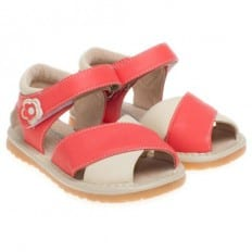Little Blue Lamb - Squeaky Leather Toddler Girls Shoes |  Beige and salmon sandals