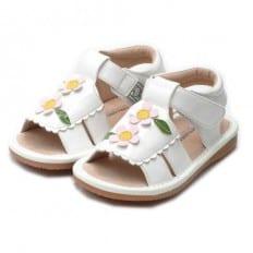 Little Blue Lamb - Scarpine bimba primi passi con fischietto   Sandali bianchi con 2 cerimonia di fiori colore rosa