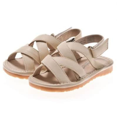 Little Blue Lamb - Zapatos de cuero chirriantes - squeaky shoes niñas | Sandalias beige a correa