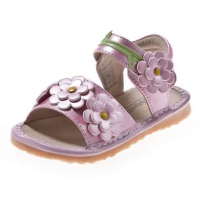 Little Blue Lamb - Squeaky Leather Toddler Girls Shoes | Pink sandals 4 flowers ceremony