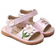 Little Blue Lamb - Squeaky Leather Toddler Girls Shoes |  Pink sandals ceremony