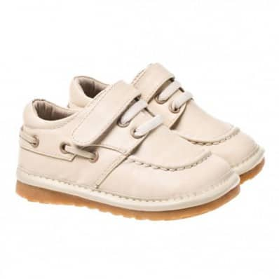 Little Blue Lamb - Squeaky Leather Toddler boys Shoes | Beige boat