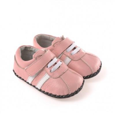 CAROCH - Zapatos de bebe primeros pasos de cuero niñas | Zapatillas de deporte rosa fajas blancas