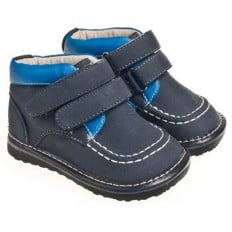 Little Blue Lamb - Squeaky Leather Toddler boys Shoes | Marine blue