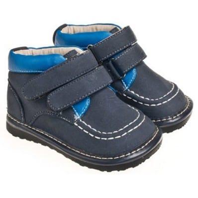Little Blue Lamb - Krabbelschuhe Babyschuhe squeaky Leder - Jungen | Grau und blau