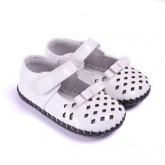 CAROCH - Baby girls first steps soft leather shoes   White small losanges