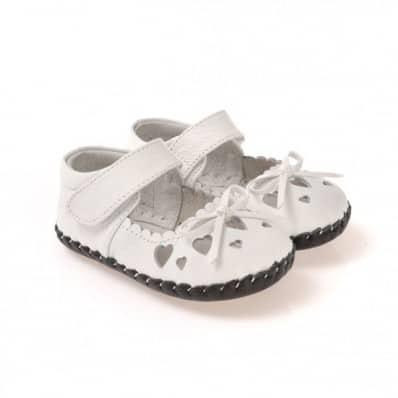 CAROCH - Krabbelschuhe Babyschuhe Leder - Mädchen | Weiß Kleine Herzen