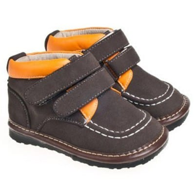 Little Blue Lamb - Squeaky Leather Toddler boys Shoes | Black and orange