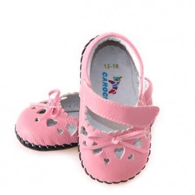 CAROCH - Krabbelschuhe Babyschuhe Leder - Mädchen   Rosa Kleine Herzen