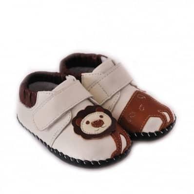 CAROCH - Zapatos de bebe primeros pasos de cuero niños | Zapatillas de deporte blancas león