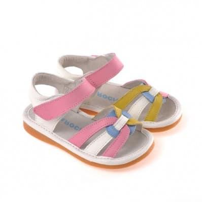 CAROCH - Zapatos de cuero chirriantes - squeaky shoes niñas | Sandalias blancas amarillas y rosadas