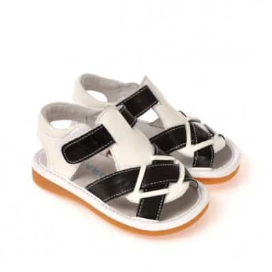 CAROCH - Squeaky Leather Toddler boys Shoes | White black sandals