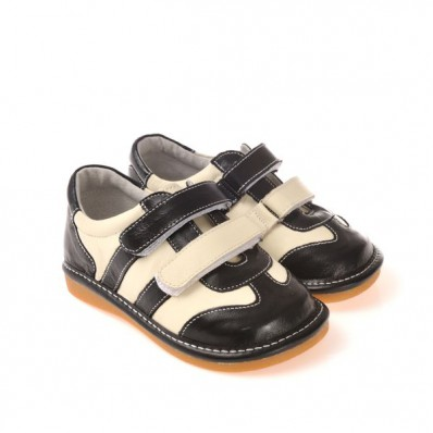 CAROCH - Zapatos de cuero chirriantes - squeaky shoes niños | Zapatillas de deporte negras y blancas